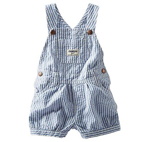 Oshkosh B'Gosh Seersucker Shortalls (18 Months, Blue Stripe) front-645537