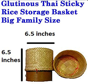 Big Size Thailand Handwoven Bamboo Container Handmade Sticky Rice Storage Basket