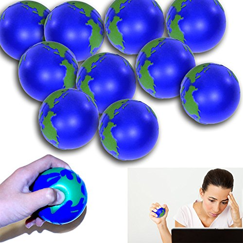 Dazzling Toys Stress Relief Squeeze Balls Earth World Globe Stress Relaxable Toy - 12 Pack