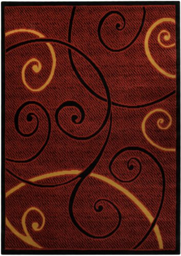 Red Tribal Filigree Contemporary 4'10