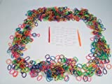 "Neon Color Rubber Loom Rainbow Bands 1200 Pieces with 48 ""S"" Clips"