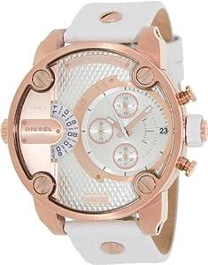 Diesel DZ7271 sba oversize rose gold-tone/white dial leather strap unisex watch NEW