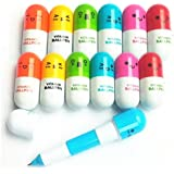 Partstock(TM) 12PCS Ballpoint Pen, Vitamin Pill, Novelty Pen, Size12x2.4cm, Gift Pen,multicolor,Ink color:Blue