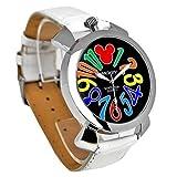 Disney ディズニー ミッキー マルチカラー インデックス 腕時計 ホワイト ベルト × ブラック 文字盤 ラウンドフェイス クロコ型押し 白 黒 青【並行輸入品】[時計]