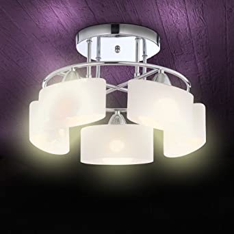 Wofi Glas Würfel Decken Leuchte 5x Osram Halogen Leuchtmittel Lampe Büro Licht