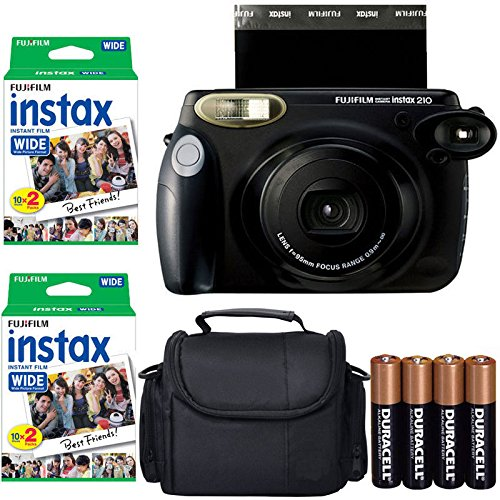 Fujifilm INSTAX 210 Photo Instant Camera With Fujifilm Instax Wide Instant Film Twin Pack Instant Film (40 Shots) + Camera Case With Photo4less Microfiber Cleaning Cloth Top Bundle (Import No US Warranty)