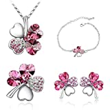 Fashion Crystal Clover Jewelry Set White K Plated Necklace Bracelet Earrings Brooch Pin(11 colors)