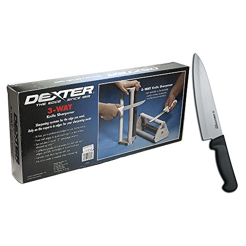 Dexter 3-Way Ceramic Rods Knife Sharpener And 8 Inch Cooks Knife With Black Handle