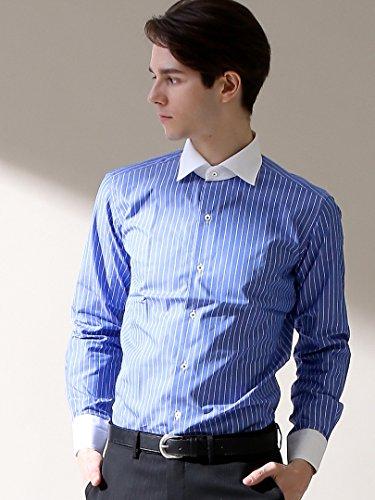 (アバハウス) ABAHOUSE ピンストライプクレリックシャツ XL ブルー 0091012006