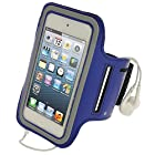iGadgitz Blue Reflective Anti-Slip Neoprene Sports Gym Jogging Armband for Apple iPod Touch iTouch 5th Generation 32GB 64GB