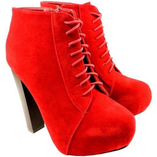 High-Heels-Stiefeletten: Damen Schuh High Heel Wildleder Knöchelhoch Stiefel Pumps Shoes - Rot - 38