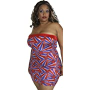 Delicate Illusions womens Foil patriotic Plus size tube dress