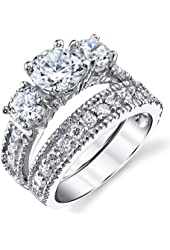 Sterling Silver Past Present Future 2-Pc Bridal Set Engagement Wedding Ring Band W/Cubic Zirconia CZ