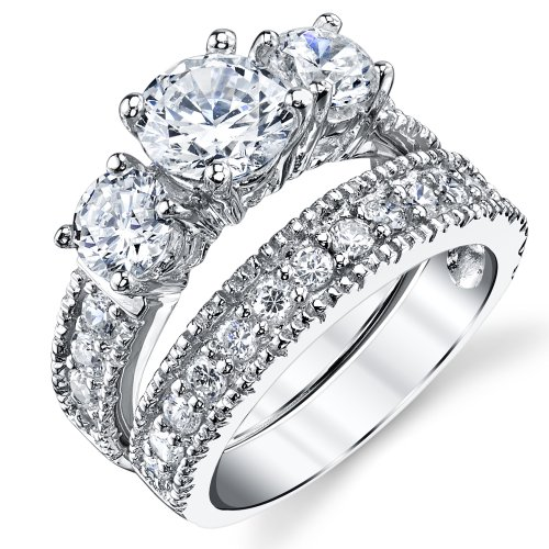 Sterling Silver Past Present Future Bridal Set Engagement Wedding Ring Band W/Cubic Zirconia CZ 6