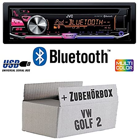 VW Golf 2 II - JVC KD-R971BT - Bluetooth CD/MP3/USB MultiColor Autoradio - Einbauset