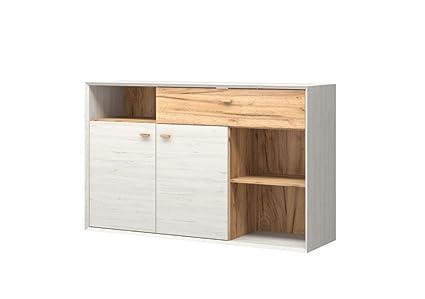 Sideboard Aria 3 Kommode Anrichte Schrank Wohnzimmer Weiß Eiche