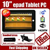 Maxtouuch- 16GB 10 inch Epad, Apad Google Android 2.3 Netbook notebook Superpad 3, supports 3G external dongle, HDMI 1080 P full HD output , WIFI , Internal G- Sensor, CAMERA, Resistive touch screen single-point MP3 Touch panel + FREE 10