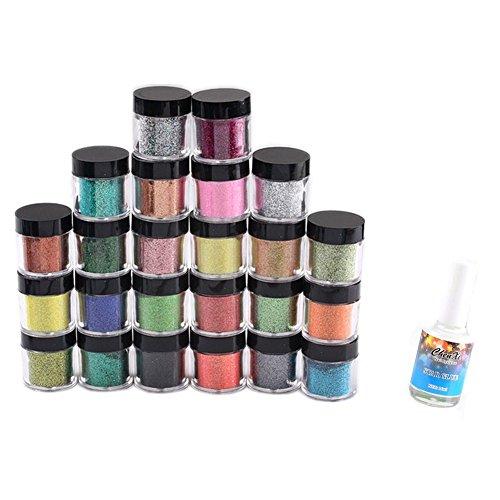Ayliss® 24x Nail Art Foil + Colle pour foils Wrap Feuille de transfert Glitter Sticker Decal polonais Décoration Tips