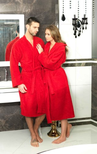 Frottee Kimono Bademantel Damen Herren Farbe Rot Größe S