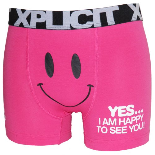 Xplicit Funny Happy Face Novelty Mens Boxers in Pink Size XL