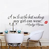 Toprate(TM) A Smile Is the Best Makeup Any Girl Can Wear.-marilyn Monroe-wall Quote-wall sayings-wall Decal-vinyl Wall Lettering-wall Sayings-home Art Decor Decal by Toprate(TM)