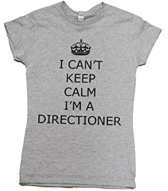 21 Century Clothing Women's I can't keep calm I'm a Directioner One Direction T - Shirt Small Grey