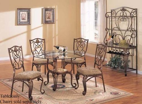 Cheap Round Dining Table with Glass Top Antique Bronze Finish (VF_AM6645)