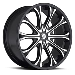 Platinum Mogul 22 Black Wheel / Rim 5×115 & 5×5.5 with a 15mm Offset and a 78 Hub Bore. Partnumber 408-2227B+15