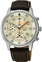 Chronograph Stainless Steel Case Leather Bracelet Cream Tone Dial Date Display