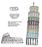 Italy Leaning Tower of Pisa Wall Stickers DIY Mural Art Decal Self Adhesive Removable PVC Wallpaper Decor,23.6 inch*35.4 inch Original