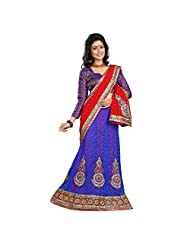 Indian Alluring Blue Colored Georgette Net Lehenga Saree By Triveni