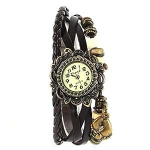 YESURPRISE Montre quartz Vintage Avec pendentif Pied Knitted Bracelet en cuir Classique Bronze cadran 6 couleurs -4