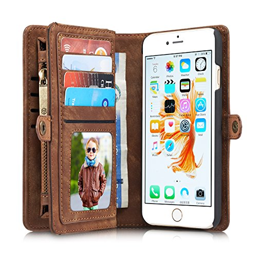 Buy For iPhone 6/ iPhone 6S Case, Charminer Multi-slot Retro Zipper Wallet Leather Detachable Magnet...