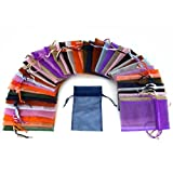 48 Organza Drawstring Pouches Gift Bags Assorted Colors 4x5""