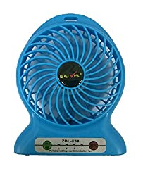 Selvel Powerful Portable Premium Genuine Quality Wireless Rechargeable Mini USB Fan Micro USB Charging Port (Like Mobile) with Poerw bank 2800 mAh Lithium-ion Battery Inside 3 Speed Compact Cool Premium Quality Durable Best for Desktop Use Lamp Gadget Multicolour