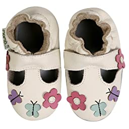 Momo Baby Infant/Toddler Daisy & Butterfly T-Strap White Soft Sole Leather Shoes - 0-6 Months/1-2.5 M US Infant