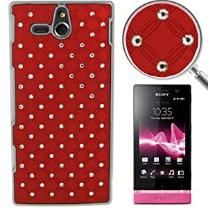 Luxury Bling Diamond Plating Skinning Plastic Case for Sony Xperia U / ST25i (Red)