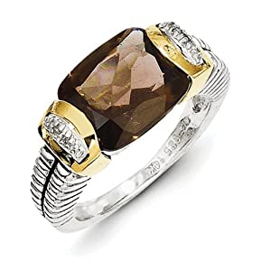 IceCarats Designer Jewelry Size 6 Sterling Silver W/14K 2.11Smokey Quartz .02Ct. Diamond Ring