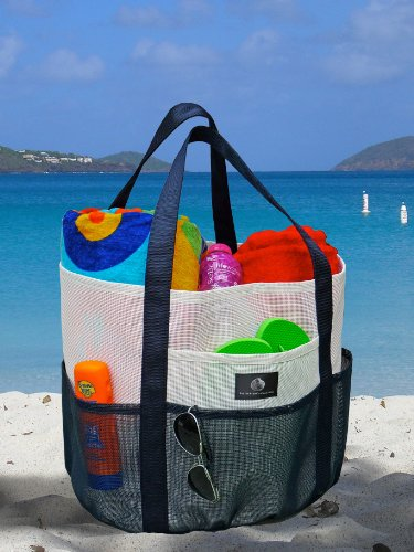 White and Navy Mesh Beach Tote – Family Size Whale Bag