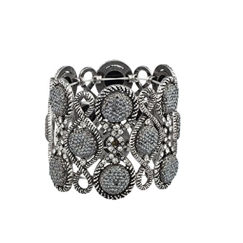 lux-accessories-burnish-pave-grey-caviar-glitter-stone-boho-glitz-stretch-bracelet