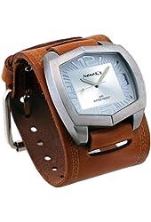 Nemesis #BIN035S Men's Futuristic Brown Wide Leather Cuff Band Silver Dial Watch