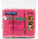 "Kimberly-Clark Wypall 83980 Microfiber Cloths with Microban Protection, 15-3/4"" Length x 15-3/4"" Width, Red (4 Packs of 6)"