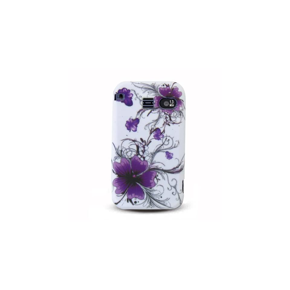 White with Purple Flower Soft Silicone Skin Gel Cover Case for Sanyo Scp 2700 Juno + in Blister Retail Package
