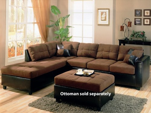 Sectional Sofa Chaise with Chocolate Microfiber in Black Leather Like