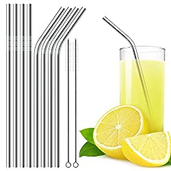 DLAND 18/8 Stainless Steel Straws,Durable Metal 10.43in Drinking Straws Set (4 Straight and 4 Bend) - for Fits Both 30 oz and 20 oz Tumblers- with 2 Cleaning Brushes.
