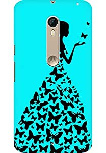 AMEZ designer printed 3d premium high quality back case cover for Motorola moto X style (sky blue princess)
