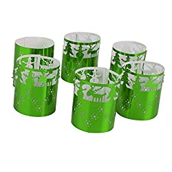 Imported 6pcs Led Tea Light Holders Wedding Christmas Decoration trees pattern Green