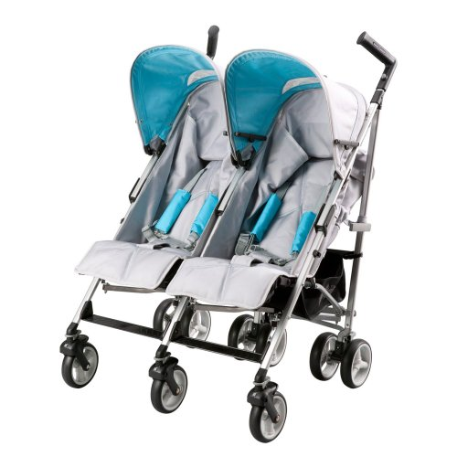 Simmons Kids Simmons Kids Tour LX Side X Side Stroller - Silver/Teal, Gray - 1
