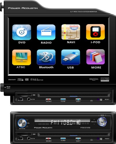 Power Acoustik PTID-8310NRB Single-DIN 8.3-Inch Flip-Up Nav-Ready TFT-LCD Touchscreen A/V Source Unit with Bluetooth