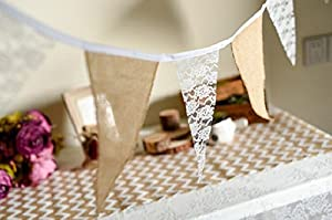 Checkmineout 9.3feet Hessian Burlap Floral Lace Bunting Banner Rustic Wedding Decoration Home Garland from CheckMineOut